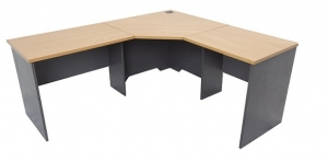 Essentials Express Commercial 3 Piece Corner Desk 1500W x 1500W Colour Beech/Charcoal
