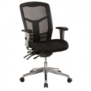 Oyster Ergonomic 4 Lever Black Medium Back Mesh with Arms Office Chair