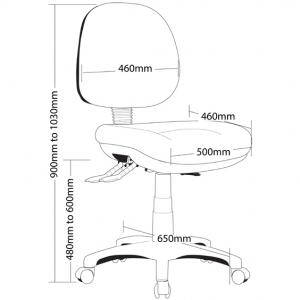 P350 Ergonomic Office Chair Medium Back Dimensions