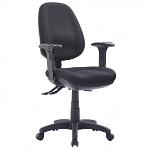 P350 AFRDI Approved Ergonomic High Back with Arms Black Fabric