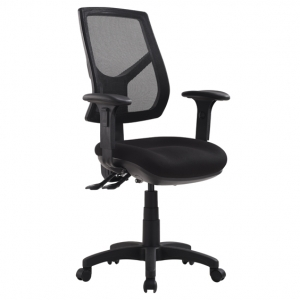 Rio High Mesh Back 3 Lever Ergonomic Black Office Chair with Arms