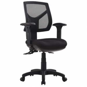 Rio Medium Mesh Back 3 Lever Ergonomic Black Office Chair with Arms