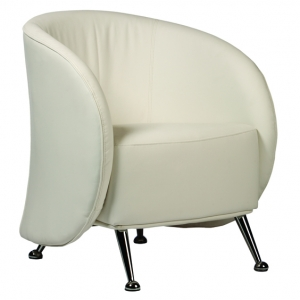 RUBY Tub Lounge Chair White Bonded Leather