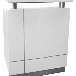 Receptionist Counter White, Hop Top in White Caesar Stone