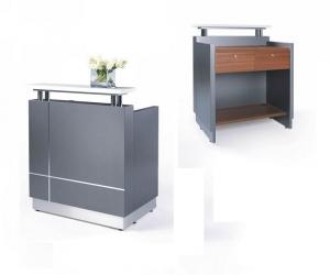Receptionist Small Counter Metallic Grey, Table Top in Teak