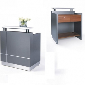 Receptionist Small Counter Metallic Grey, Table Top in Teak