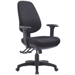 TR600 Big Boy with Arms Fabric Upholstered 3 Lever Ergonomic Office Chair in Black
