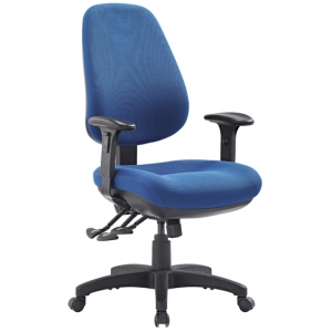 TR600 Big Boy with Arms Fabric Upholstered 3 Lever Ergonomic Office Chair in Blue