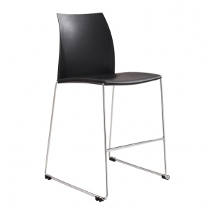 Vinn Visitors Sled Base Black Poly Stool
