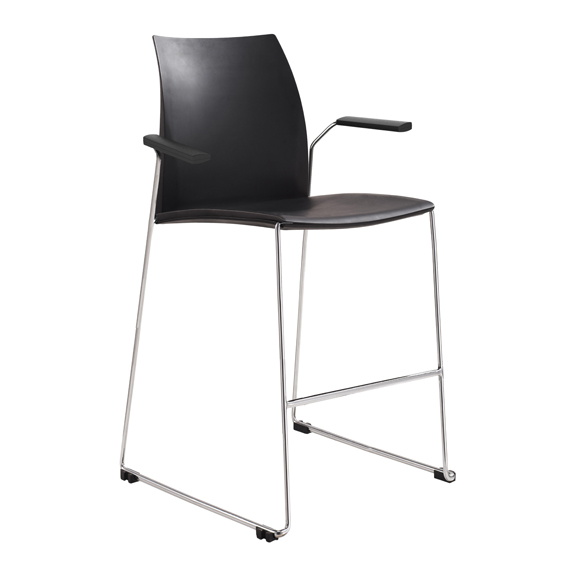 Vinn Visitors Sled Base Black Poly Stool with Arms