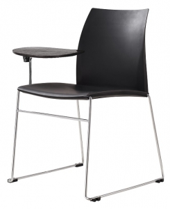 Vinn Visitors Sled Base Black Poly Chair with Tablet Arm