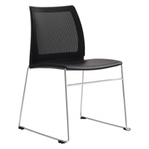 Vinn Visitors Sled Base Black Mesh Back & Poly Seat Chair