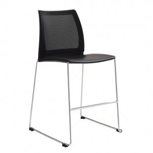 Vinn Visitors Sled Base Black Mesh Back & Poly Seat Stool