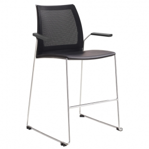 Vinn Visitors Sled Base Black Mesh Back & Poly Seat Stool with Arms