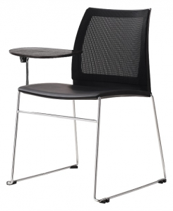 Vinn Visitors Sled Base Black Mesh Back & Poly Seat Chair with Tablet Arm