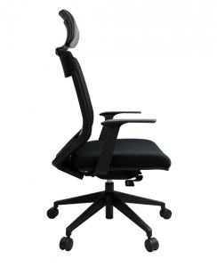 Vogue Executive High Back Mesh with Headrest, Arms & Black Base Office Chair