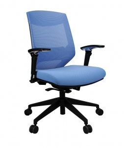 Vogue Executive Med Back Mesh with Arms Colour Blue Office Chair