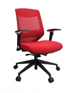 Vogue Executive Med Back Mesh with Arms Colour Red Office Chair
