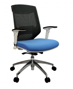 Vogue Executive Med Back Mesh with Arms Frame White Blue Fabric & Black Mesh Office Chair