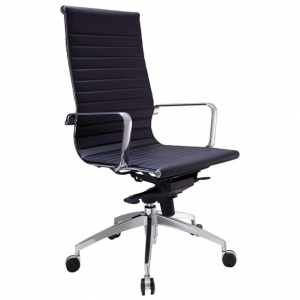Web Executive HB Thin Padded PU Black Office Chair with Arms