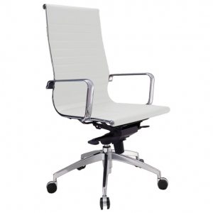 Web Executive HB Thin Padded PU White Office Chair with Arms