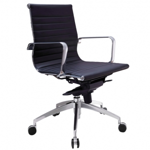 Web Executive MB Thin Padded PU Black Office Chair with Arms