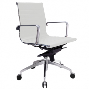 Web Executive MB Thin Padded PU White Office Chair with Arms