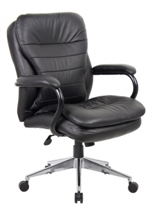 YS05H Titan Executive Medium Back 200kg Chair BLack Leather