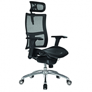 Zodiac Executive Black Mesh Back & Seat with Arms & Headrest Office Chair