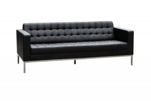 Como Three Seater Black Leather Reception Lounge