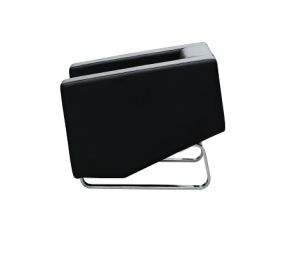 Cube Single Seater Black Leather Reception Lounge