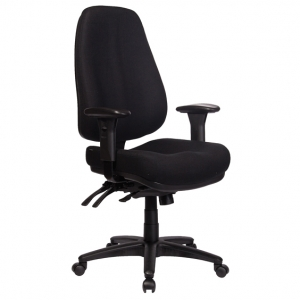 ROVER Managers Ergonomic High Back with Arms Black Fabric Office Chair