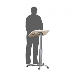 Lectern height adjustable standing position on wheels