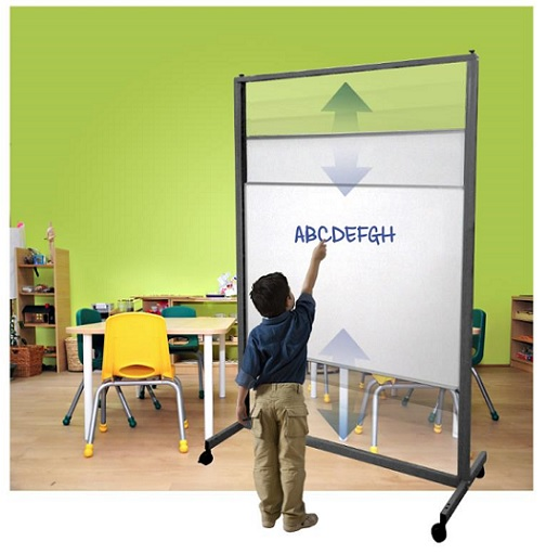 Aspire Vertical Sliding Whiteboard on Wheels for Younger Use