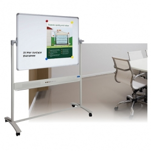 Mobile Porcelain Pivoting Magnetic Whiteboard