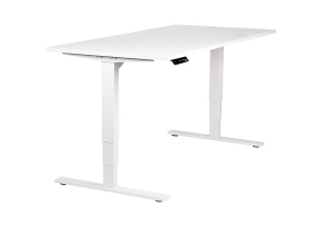 Vertilift Electric Height Adjustable sit stand desk white frame white top