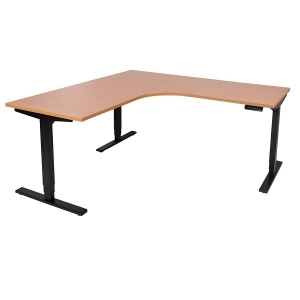 Vertilift electric height adjustable sit stand desk L shape black frame beech top
