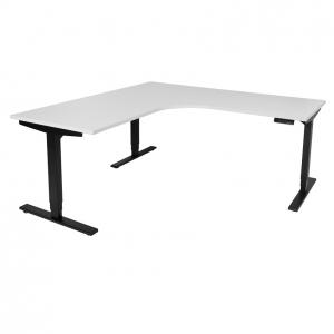 Vertilift electric sit stand height adjustable corner workstation black frame, white top