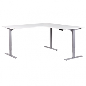 Vertilift electric sit stand height adjustable corner workstation silver frame, white top