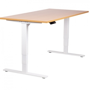Vertilift Electric Height Adjustable sit stand desk White Frame Beech top