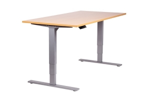 Vertilift electric height adjustable desk sit stand silver frame beech top