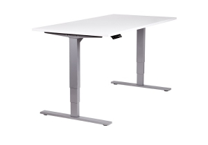 Vertilift electric height adjustable desk sit stand silver frame white top