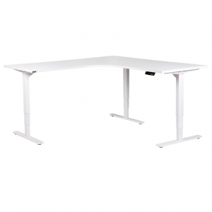 Vertilift electric sit stand height adjustable corner workstation white frame, white top