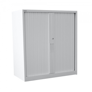 Steelco Tambour Cabinet 1015H x 900W in Sliver Grey Retractable Door