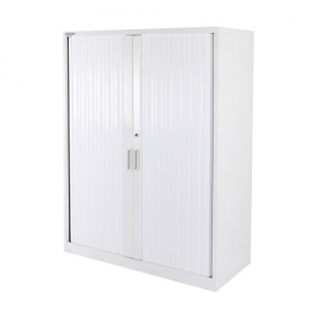 Steelco Tambour Cabinet Steel 1320H x 1200W Retractable Door White