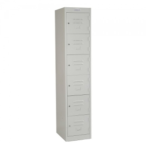 Steelco Personal 6 Door Locker 380W Silver Grey Key Lock
