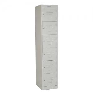 Steelco Personal 6 Door Locker 380W Silver Grey Key Lock