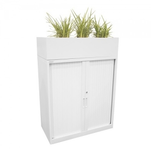 Steelco Tambour Planter Box White Metal Cabinet Planter Boxes