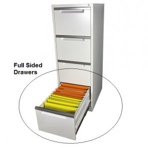 Steelco Filing Cabinet Shown Full Sided Drawers Open