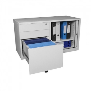 Steelco Mobile Caddy Tambour Door with LH Drawers Open Workstation Solution